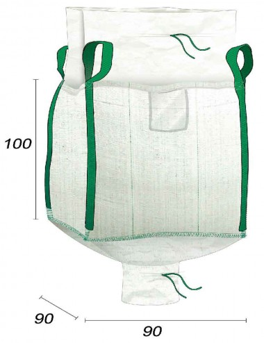 Big Bag 1000 kg vuoto con scivolo di scarico - 90X90X100