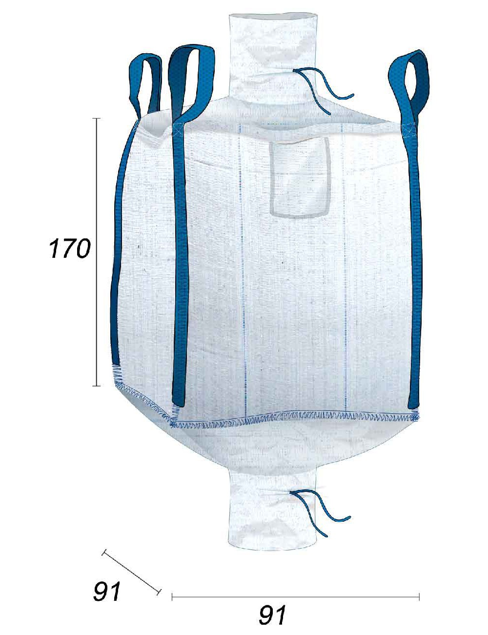 Big Bag Impermeabile, Farine e prodotti alimentari - 91X91X170