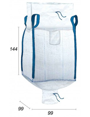 Big Bag Volume di 1,25 m3 e drenaggio per valvola - 95X95X140