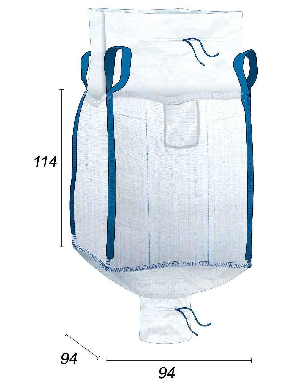 Big Bag Apertura a caramella e valvola di scarico - 90X90X110