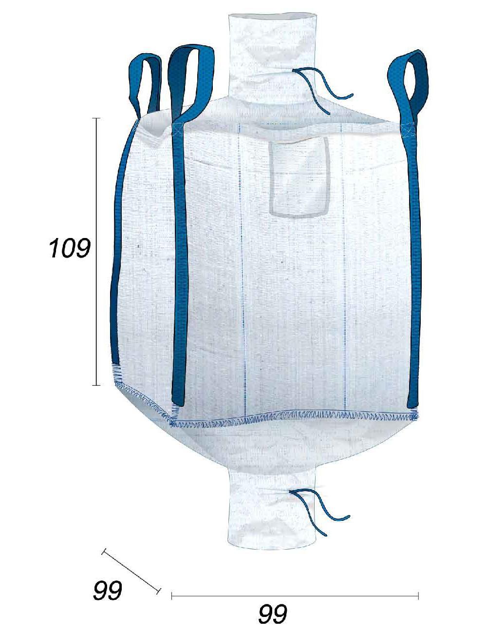 Big Bag Resistenza 600 kg valvole superiore e inferiore - 95X95X105